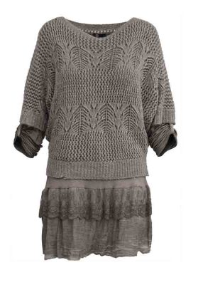 M italy Chandail tricot tunique 20-6799H TAUPE